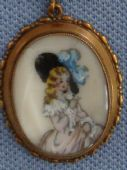 1950s Pendant Necklace - Handpainted Lady in Picture Hat by TLM (sold)